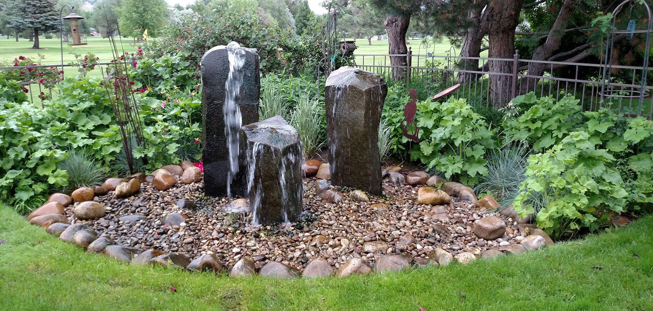 Custom water fountain design and installation in the Boise area.