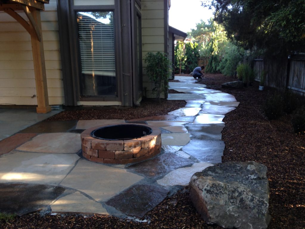 Custom outdoor fire pit farwest landscape boise idaho for Landscape design boise
