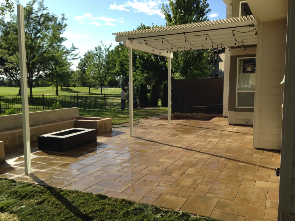A Finished Paver Patio In The Backyard Of A Meridian Home.