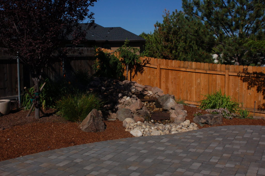 A Custom Built Paver Patio, With Water Feature, In Meridian, Idaho.