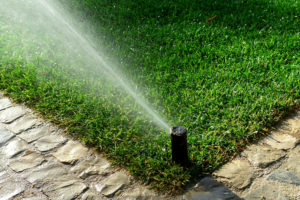 A sprinkler shoot water on a lawn at a Boise home.
