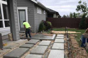 Concrete Patio Block and irrigation   FarWest Landscape Boise