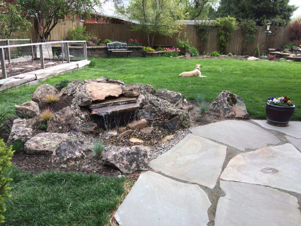 Water fountain pond farwest landscape boise idaho for Backyard pond maintenance