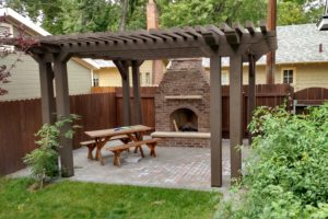 Pergola Fireplace Construction | FarWest Landscape | Boise ID