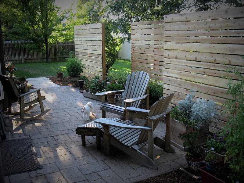 A cedar wood wall built for privacy at a boise area home.