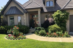 boise home landscaped with flowers