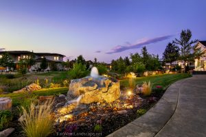 Rock bubbler water feature | farwest landscape | Boise
